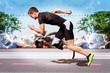 Runner sprint metal background