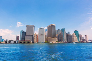 Manhattan New York skyline from NY bay in USA