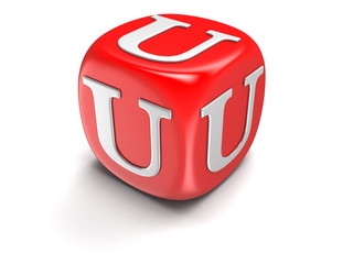 Dice with letter U (clipping path included)