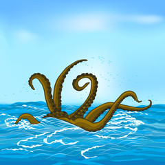 mythological kraken tentacles with the sea