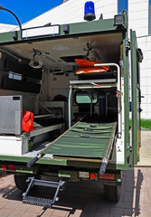 Military ambulance with a stretcher