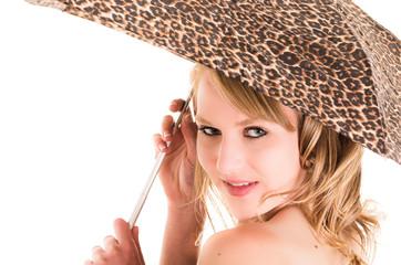 closeup portrait of beautiful blond girl holding umbrella