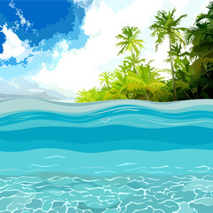 view through the depths of the ocean shore with palm trees