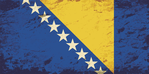 Bosnia and Herzegovina flag. Grunge background. Vector