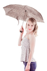 pretty young girl standing holding umbrella