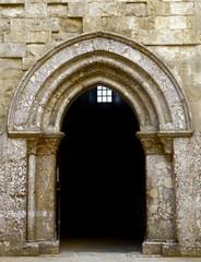 internal portal Castel del Monte, Unesco heritage. Italy, Apulia