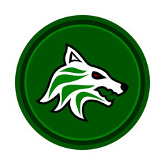 wolf icon on green background