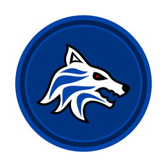 wolf icon on blue background
