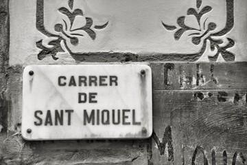 Barcelona street. Black and white.