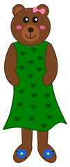bear in a green dress