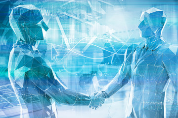 abstract business people shaking hands