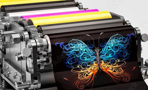 Leinwanddruck Bild printing machine showing an abstract butterfly print