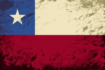 Chilean flag. Grunge background. Vector illustration