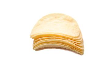 Stacked Plain Potato Chips Over White