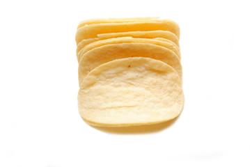 Crispy plain potato Chips Over White