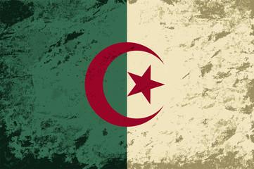 Algerian flag. Grunge background. Vector illustration