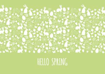Hello spring, Easter banner, vector