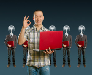 lamp head businesspeople with laptop