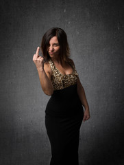 lady showing middle finger
