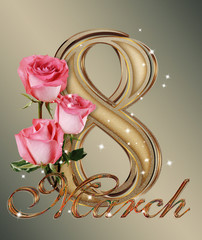 Beautiful golden background for March 8