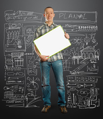 asian male with write board in his hands