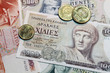 old greek drachmes banknotes and coins