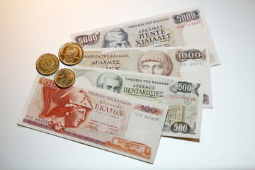 greek drachmes banknotes and coins