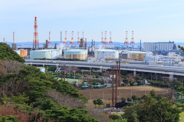 Factories in Keihin industrial region in Yokohama, Kanagawa, Jap
