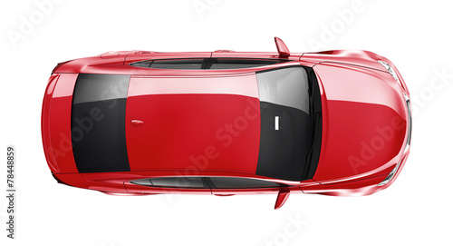 Red car on white background - 78448859
