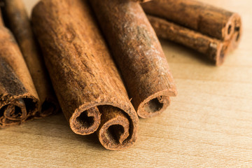 Close up and selective focus on the edge of Cinnamon sticks