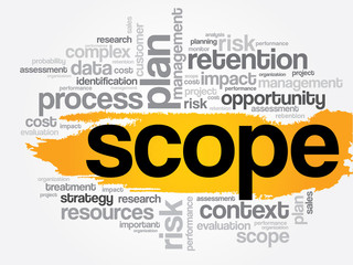 SCOPE word cloud, business concept