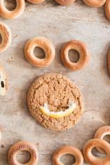 Food background, cookies, smile.