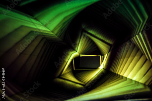 Yellow and Green Abstract Light Painting - 78449607
