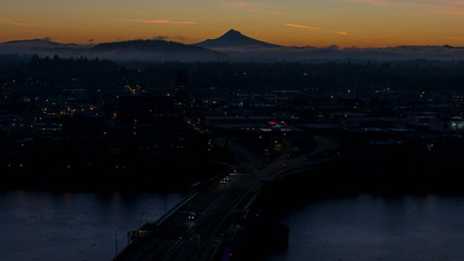 Time Lapse of Sunrise Over City of Portland Oregon Early Morning