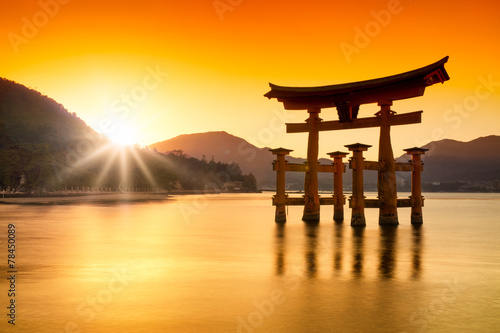 canvas print picture Torii in Miyajima Japan