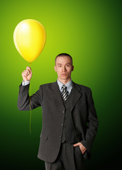 businessman in suit with the balloon