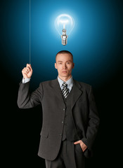 business man turn on the light