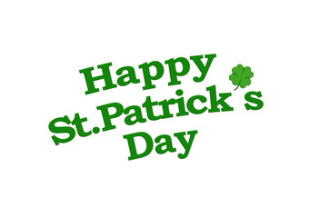 Happy St Patricks Text with Clover Graphic Isolated