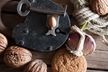 Food background, rural market walnuts.