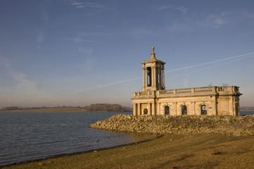 UK, Rutland Water, View of Normanton Church