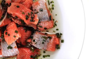 salmon fish with green herbs