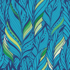 Texture with feathers in blue