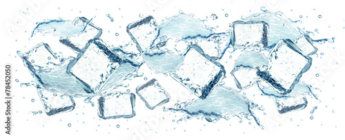 water and ice cubes splash