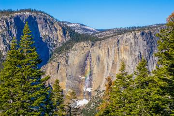 USA, California, Yosemite National Park, View of waterfall