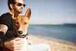 Leinwandbild Motiv Сlose up portrait dog breed Basenji sitting in sand and looking