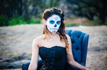 USA, California, Portrait of woman with face paint (sugar skull)