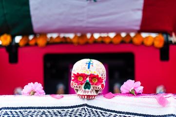 USA, California, Close up of Dia de Muertos decorated skull