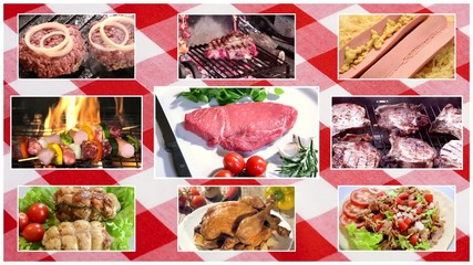meat composition over tablecloth background
