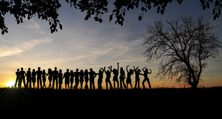 Happy people silhouette