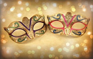 Female carnival mask on vintage background